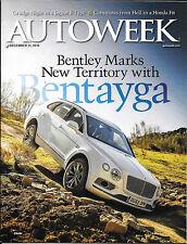 Autoweek magazine. Dec 2015. 2015 Bentley Bentayga, 60' Corsair, 68' Bizzarrini.
