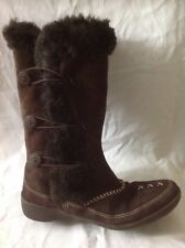 K By Clarks Brown Mid Calf Suede Boots Size 6