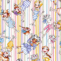Loralie Up & Away character toss on stripes 100% cotton fabric by the yard