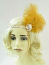 Mustard Gold Cream Feather 1920s Headband Flapper Great Gatsby Headpiece 7575
