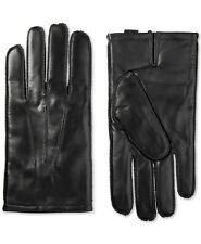 isotoner Men Black SmarTouch Leather Winter Lined Driving Gloves Size L