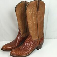 Men Vintage Handmade Lucchese Cowboy Boots 8B Alligator Belly Crocodile 8 Narrow