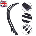 27cm PWM 4 pin Y Splitter Computer PC Fan Power Cable Black Sleeved Braided