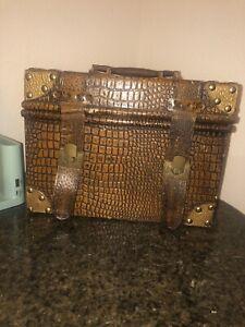 Zanzibar Antique Flat Steamer Storage Leather Trunk Metal Treasure Chest