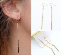 Gold Plated Long Dangle Drop Chain Hook Earrings Ear Stud Fashion Women Jewelry