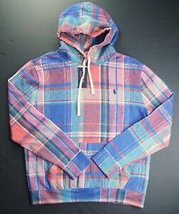 POLO RALPH LAUREN Men's Blue Multi Plaid Fleece Pullover Hoodie NEW NWT