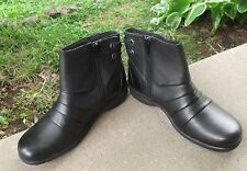 Womens CLARKS Sillian booties size US 5.5 M black leather shoes boots FREESHIPP