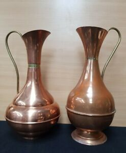2 Old Vintage big Copper Vases jugs retro shabby chic country cottage  chateau