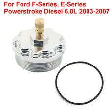 For 2003-2007 Ford Powerstroke 6.0L Billet Fuel Filter Cap Pressure Port Silver