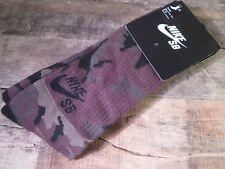 NIKE SB Camo Black Crew Socks Size L 8-12 NEW SX4934-200