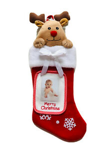 17 In Reindeer Red Picture Frame Christmas Stocking