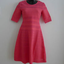 MISSONI M Pink SKATER DRESS 40 Deep CORAL FIT & FLARE Knit COTTON Sleeve ITALY !