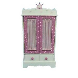 "New White Wood Pink Tiara 18"" Doll Clothes Armoire Closet"