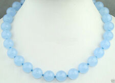 """Round Gemstone Necklace 18"""" Aaa New Fashion12Mm Natural Light Blue Jade"""