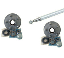 """39mm Round Boat Trailer Axle Galvanised 1575mm 62"""" Holden HT Hubs - ASSEMBLED"""