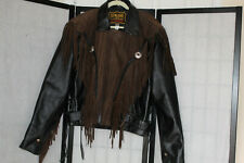 MANZOOR RARE GENUINE LEATHER BIKERS JACKET  BLACK WITH BROWN TRIM AND FRINGES EU