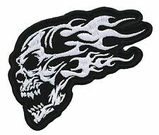 "FLAMING SKULL 2.75"" X 4"" WHITE EMBROIDERED MC PATCH"