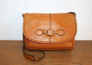 Goldpfeil Tasche, lässige Vintage Handtasche, Leder braun,100 % Original