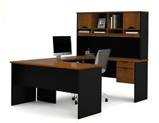 Bestar Innova U-shaped workstation kit in Tuscany Brown & Black finish 92850-63