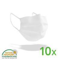 10er Pack Behelfsmaske - 4-lagige Maske Mundschutz Atemschutz waschbar bis 60°C