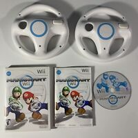 Mario Kart Nintendo Wii Complete w/ Manual CIB with 2 Steering Wheels Tested