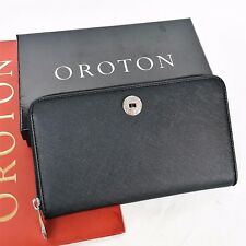 RRP$295 NEW OROTON Wallet Melanie Zip Around Large Clutch Black Saffiano Leather