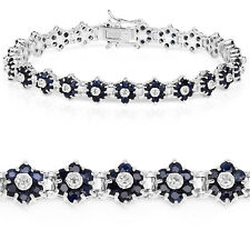 Bracelet 925 Sterling Silver 6.31 ct Blue Sapphire Diamond Round 7.25 inches