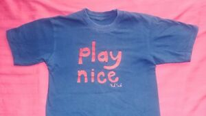 Men Paul Frank Navy Blue Play Nice T shirt Size Small Skinny Fit like XS