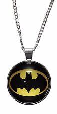 "DC Comics BATMAN Logo Glass Dome PENDANT on 20"" Chain"