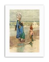 ARABIAN MERMAID HEATH ROBINSON Canvas art Prints