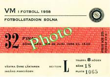 Photo Ticket Billet Finale coupe du monde 1958 Brésil