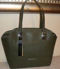New  B.Makowsky Tessa Dark Hunter Green Saffiano Leather Tote/Handbag
