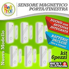 KIT6 SENSORI MAGNETICI BIANCHI PORTE/FINESTRE WIRELESS ANTIFURTO ALLARME A-B-N-X