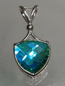 Vintage SAJEN 925 Sterling Silver Faceted Caribbean Blue Green Quartz Pendant