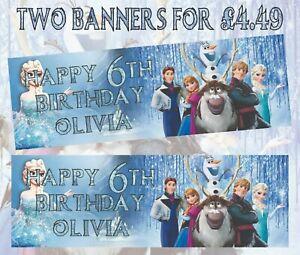 2No. Disney Frozen 3x1 foot personal Birthday Banners