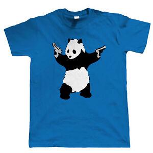Massive Stock Clearance, Banksy T Shirt Panda With Guns Mens Urban Art