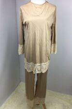 VTG GILEAD LINGERIE Silky TAN Lace 2PC sleepwear pants Sz M USA MADE WEDDING