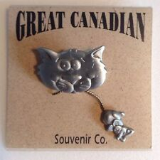 Great Canadian Souvenir Co. CAT and MOUSE Pin Pewter / Brass Tones NWT