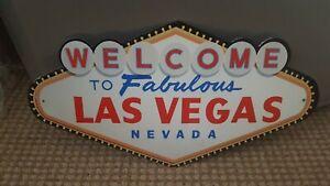 "Las Vegas Welcome Nevada USA 16"" x 10"" Metal Wall Plaque Hanging sign"