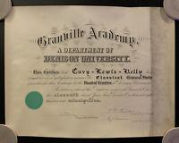 Vintage 1895 Granville Academy - Denison University Diploma