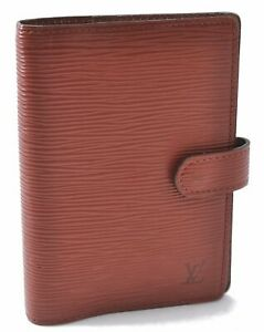 Authentic Louis Vuitton Epi Agenda PM Day Planner Cover Brown R20053 LV A8435