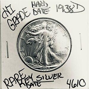 1938 D LIBERTY WALKING SILVER HALF DOLLAR HI GRADE U.S. MINT RARE COIN 4610
