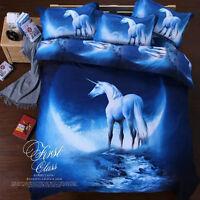 Blue Unicorn Duvet Doona Quilt Cover Set Animal Queen King Single Size Bed Set