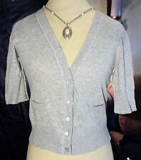 MOSSIMO SS Button Down Lightweight Gray Grey Sweater Cotton w/ pockets size M