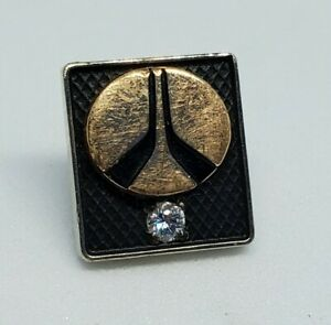 10k Gold Rockwell International CTC Diamond Tie Tack White Rose Multi Midcentury