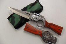Couteau de Poche Forme Fusil AK47 Lame Acier 9,5 cm Manche Bois 11,5 cm Outdoor