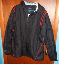 Holloway Men's Hooded Lined Coat/Jacket Size L Black,Red Stripes Wind Resistant
