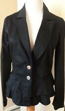 Katherine New York Black Ruffle Peplum Button Up Jacket/Blazer size S