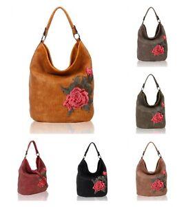 New Women's Stylish Floral Embroidered Hobo Shoulder Bag Shopper Style Hand Bag