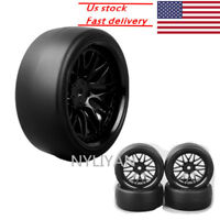 4Pcs 1/10 Hard Drift Tires&Wheel Rim 12mm Hex for HSP 1:10 RC On-Road Racing Car